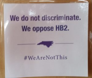 """We do not discriminate. We oppose HB2"" sign"