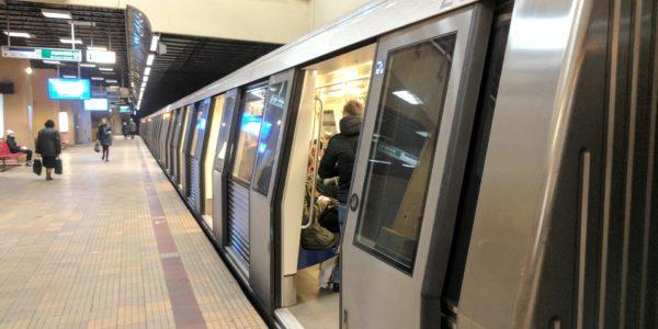 A Metro train in Bucharest