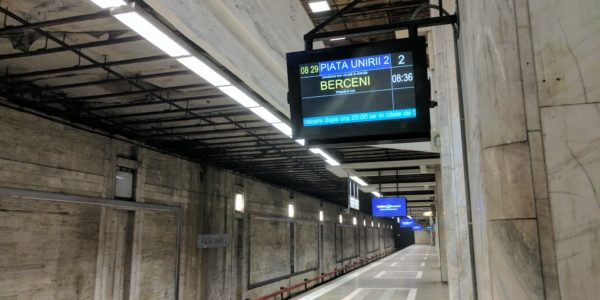 The platform and train information system at the Piata Unirii Metro station