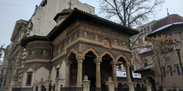 The Biserica Stavropoleos Orthodox Monastery in Old Town Bucharest