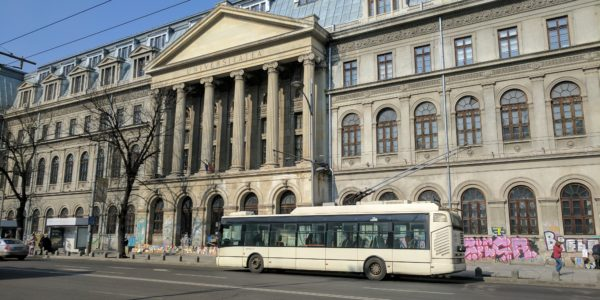 The Front of the University Building in Bucharest